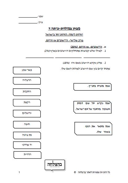 """מבחן במח""""א לכיתה ד - לחיות יחד בישראל , פרק 3, הישובים"""