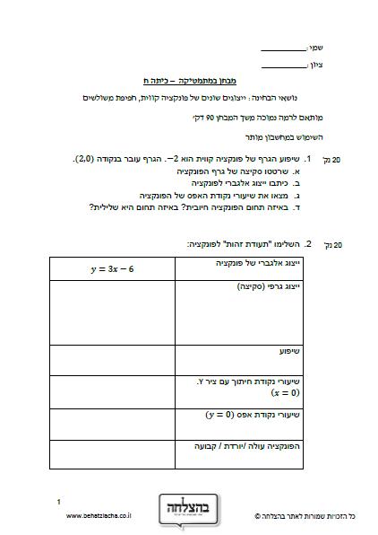 מבחן בחשבון לכיתה ח - ייצוגים שונים של פונקציה קווית, חפיפת משולשים