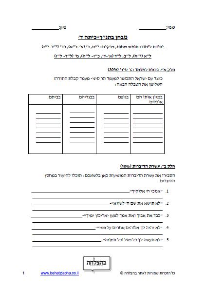"""מבחן בתנ""""ך לכיתה ד - ספר שמות, פרקים יט, כ, כד, לב, לד, מ – תכנית חדשה – מבחן 2"""