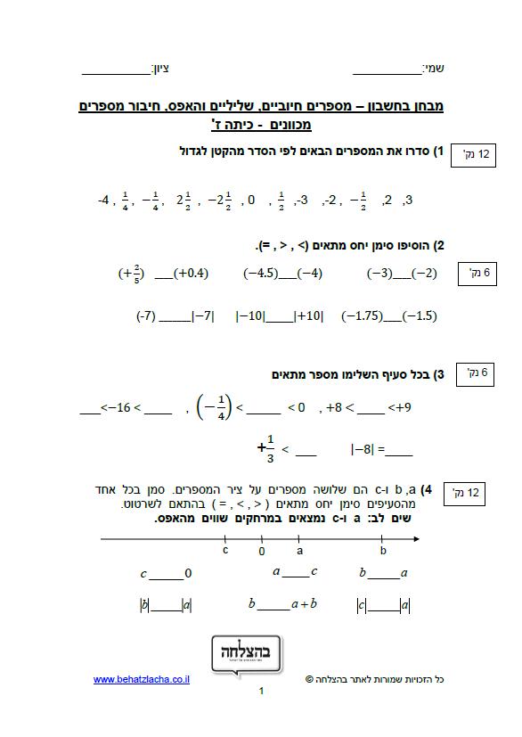 מבחן בחשבון לכיתה ז - מספרים חיוביים, שליליים והאפס, חיבור מספרים מכוונים