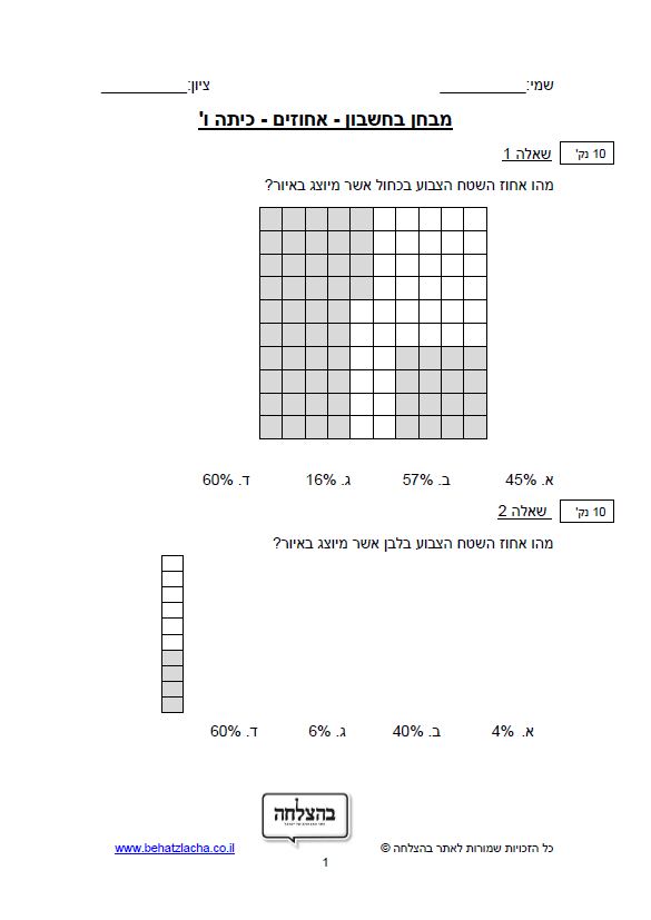 מבחן בחשבון לכיתה ו - אחוזים