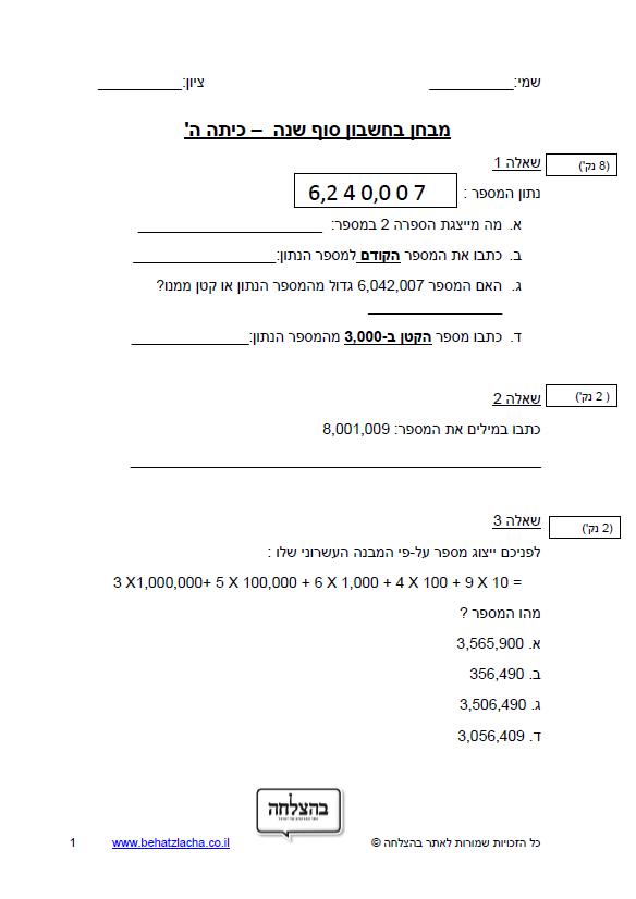 מבחן בחשבון לכיתה ה - סוף שנה כיתה ה – מבחן 2 – מספרים בתחום המיליון כתיבה, מיקום ספרות, ייצוג עשרוני, מספר קודם, חיבור, חיסור, חילוק וכפל במאונך, שברים פשוטים, מספר עשרוני, מספר מעורב, בעיות מילוליות, סדרות, מספר ממוצע, חישוב שטח משולש, חישוב שטח והיקף של מרובע, חישוב שטח מקבילית, חוקי החילוף, הקיבוץ והפילוג, סדר פעולות